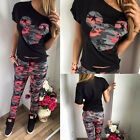 Fashion Women's Casual Camouflage Print Jogger Tracksuit Short Sleeve Tops+Pants