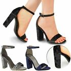 Womens Ladies Velvet Block High Heels Ankle Strappy Peep Toe Sandals Party Size