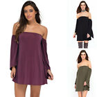 New Women Sexy Off Shoulder Casual Party Long Sleeve Short Mini Dress Long Tops