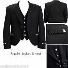 "Wool Argyle Black Kilt Jacket With Waistcoat Handmade-Sizes 36""- 54"" (Free ship)"