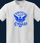 Proud US Navy Wife white t-shirt With Eagle Logo & Tees 100 % ultra cotton