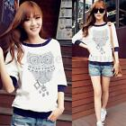 Fashion Ladies Round Neck 3/4 Sleeve Owl Print Pullover Jumper Tops Blouse Shirt