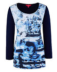 PLUS SIZE Together WATERCOLOUR Scene NAVY BLUE Print Jersey Top Size 28 LAST ONE