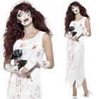 Zombie Bride Costume - Halloween Womens Wedding White Fancy Dress Film Movie