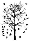 Birds Flocking in a tree Vinyl Decal