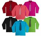 Внешний вид - Kids Toddlers Boys Long Sleeve Dress Shirt with Tie Set Size 2T to 14