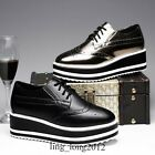 Womens Wingtip High Platform Creeper Brogues Patent Leather Wedges Oxfords Shoes