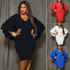 New Women's Bat Sleeve V-Neck Hips-Wrapped Bodycon Casual Dress PLUS SIZE L-3XL