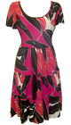 MARINA KANEVA Tiered TROPICAL PINK Print Sun Dress Size Size 16 LAST ONE