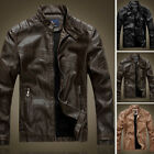 New Men's PU Leather Jacket Slim Fit Biker Motorcycle Fleece Jacket Coat Outwear