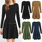 Womens Ladies Celeb Padded Shoulders Button Skater Long Sleeve Party Dress Size