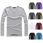 Fashion Men's Long Sleeve V-Neck Tee Shirt Tops Basic Slim Fit Casual T-Shirts