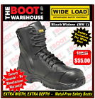 Wide Load Safety Work Boots, 'Black Widow' (BW1). Extra Wide. Zip Side.