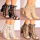 LADIES BLACK KHAKI NUDE WHITE CUT OUT LACE UP PEEP TOE STRAPPY BLOCK HIGH HEELS