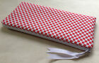 Handmade Pencil Case/Make-up Bag. White cotton with red flowers.