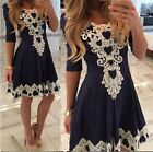 Mini abito vestito corto con inserti in pizzo Lace crochet V neck mini dress