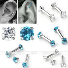 1Pair CZ Gem 16G Barbell Ear Cartilage Tragus Helix Stud Earring Body Piercing