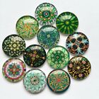 10-16mm Round Photo Glass Flatback Cabochon Green Mixed Pattern Cameo Jewelries