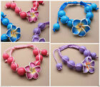 Girls bright bead cord bracelet,with fimo flower,pink,blue or purple