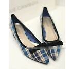Women new england plaid Pointed toe Spring flat bowknot shoes casual boat shoeC1