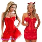 Ladies Red Corset Lace Up Satin Bustier G String Dress Costume Tutu skirt
