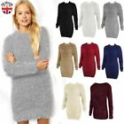 Ladies Womens Long Furry Jumper Dress Soft Fluffy Mohair Oversized Stretchy Top