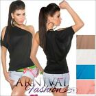 NEW SEXY ONE SHOULDER TOPS XS S M L XL WOMEN'S HOT DESIGNER SHIRTS 6 8 10 12 14