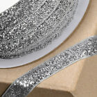 Silver 10mm Xmas Glitter Velvet Ribbon - Cards, Cake, Decoration, Craft