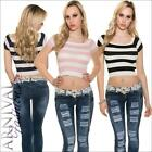 NEW SEXY LADIES STRIPED RIBBED CROP TOPS XXS XS S buy WOMENS SHIRTS 4 6 8 petite