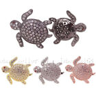 Clear Cubic Zirconia Pave Gemstone Turtle Bracelet Connector Charm Beads