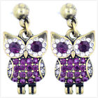 Vintage retro style owl earrings with crystal
