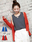 Women Casual Two Piece Stripe Vest Top Cami & Knit Cardigan Jacket Set