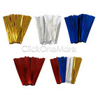 100 X Metallic Twist Ties Wire for Cello Bags Cake Pops 4 Inch 10 cm