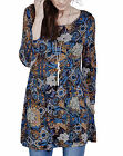 Joanna Hope MOROCCAN MOSAIC Blue Printed Stretch Jersey Tunic Top Size 12