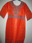 NEW AFRICAN LADIES LOVELY ORANGE KAFTAN DRESS WITH EMBROIDERY DETAILS. SIZE 3XL