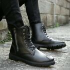 Fashion Mens Casual Military Zipper Combat Pointy Toe Shoes Ankle Mid Calf Boots