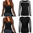 New Fashion Women Long Sleeve Shirt Casual Lace Blouse Tops T Shirt - PLUS SIZE
