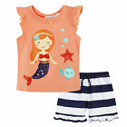 BABY GIRLS MERMAID TOP AND SHORT PJ SET, CORAL & MINT, 16ST606