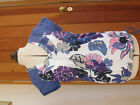 NEXT PRETTY WHITE BLUE PURPLE FLOWER PRINT T SHIRT SHORT SLEEVED TOP UK 10 BNWT