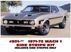 GE-801 1971-73 FORD MUSTANG - MACH 1 or BOSS - HOCKEY SIDE STRIPE KIT - 3 COLORS
