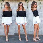 Sexy Women Fashion Off The Shoulder Casual Loose Long Sleeve T-Shirt Tops Blouse