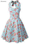 Halter Floral Vintage Prom Dresses Rockabilly 1950s Retro Swing A-Line Ball Gown