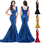 Sequins Long Wedding Evening Formal Prom Party Gown Bridesmaids Dresses Mermaid