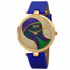 Women's Burgi BUR131 Swarovski Crystal Peacock Pattern Dial Leather Strap Watch