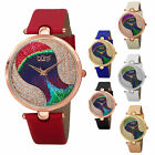 Women's Burgi BUR131 Swarovski Crystal Peacock Pattern Dial Leather Strap Watch image