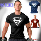 Superman Distressed Logo T-Shirt Workout Sport Gym Bodybuilding Weight Training