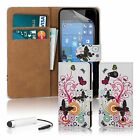 PU Leather Design Book Wallet Case Cover for Lumia Phones + Screen Protector