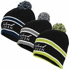 2017 Island Green Stripped Pom Pom Thermal Beanie Mens Golf Winter Bobble Hat