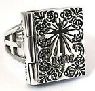 HOLY BIBLE CROSS LOCKET 925 STERLING SILVER RING