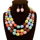 Fashion Women Vintage Necklace With Earrings #B Candy Color Wedding Party Gift